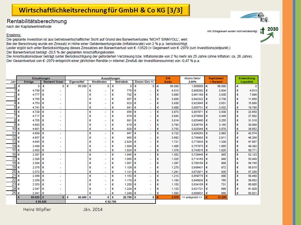 Wirtschaftlichkeitsrechnung für GmbH & Co KG [3/3]
